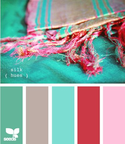 Colors for the basement bedroom.  The bathroom is this teal color, so the room needs to transition well.  Brownish hue for the floor and the red tones for bedding and accents.  Ditch the pepto pink for sure!