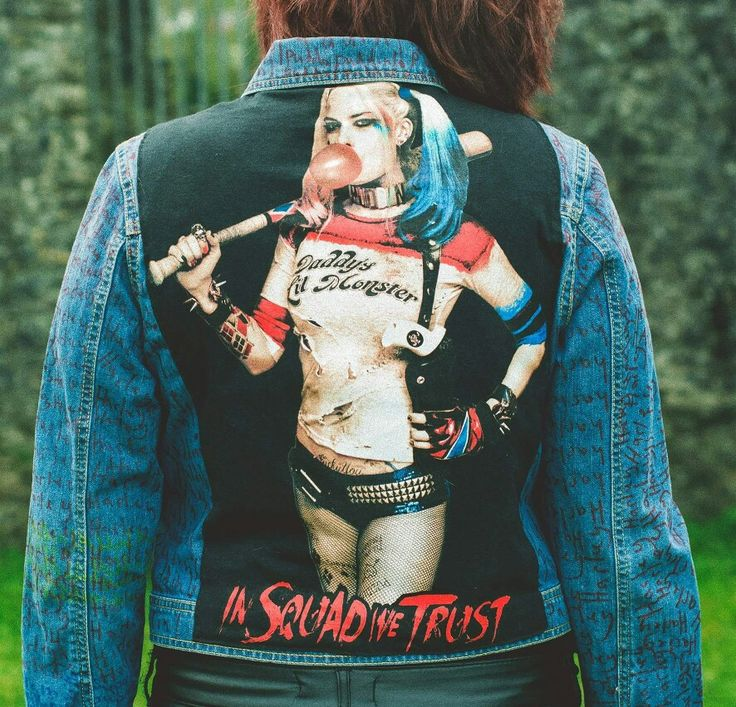 Check this one of a kind #harleyquinn jacket out via my website @reworkedbynicolle.com  #marvel #batman #bigscreen #insquadwetrust #puddin #supervillain #custom #markers #writing #american #us #llandoverycastle #llandovery #reworkedbynicolle #oneofakind #premium #luxury #photographer #unisex #fashion #festive #christmas #presents #gifts #seasonal #photography #welsh