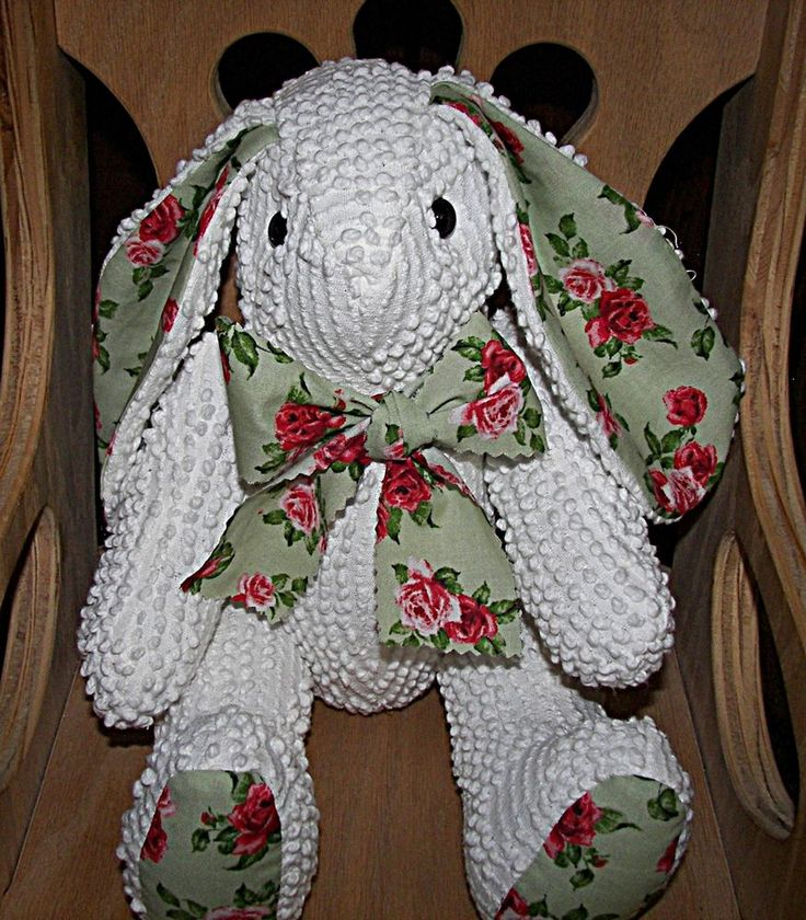HANDMADE VINTAGE CHENILLE (BATES TYPE) BEDSPREAD & PRINT JOINTED BUNNY RABBIT