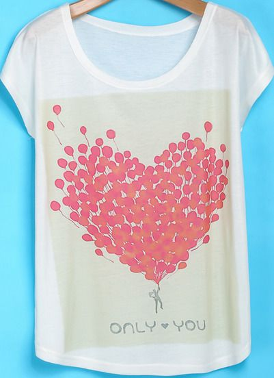 White Short Sleeve Balloon Heart Print Loose T-Shirt