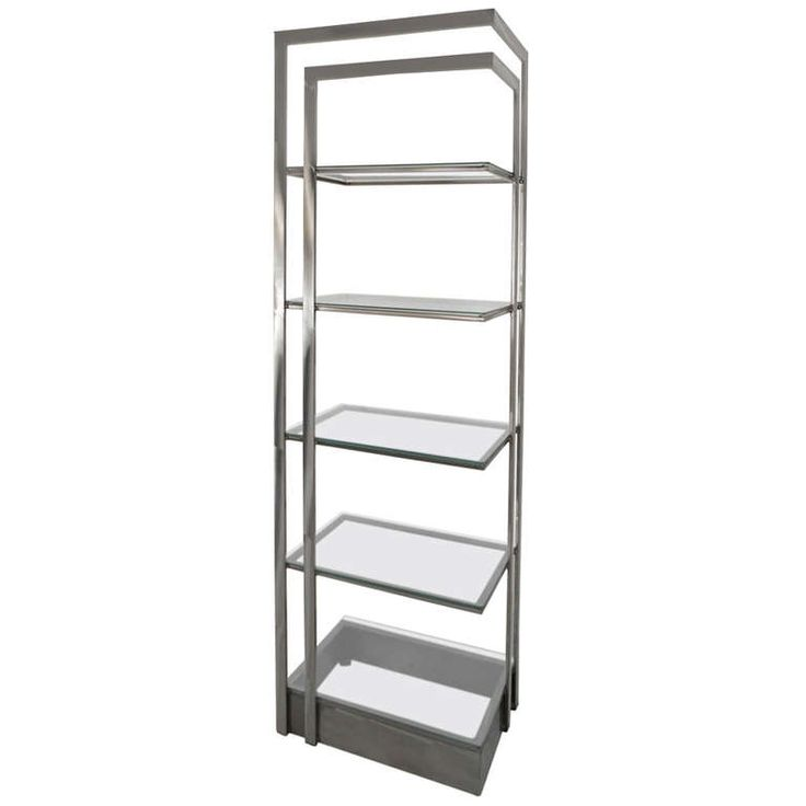 Italian Brushed Mid Century Modern Stainless Steel And Glass Etagere