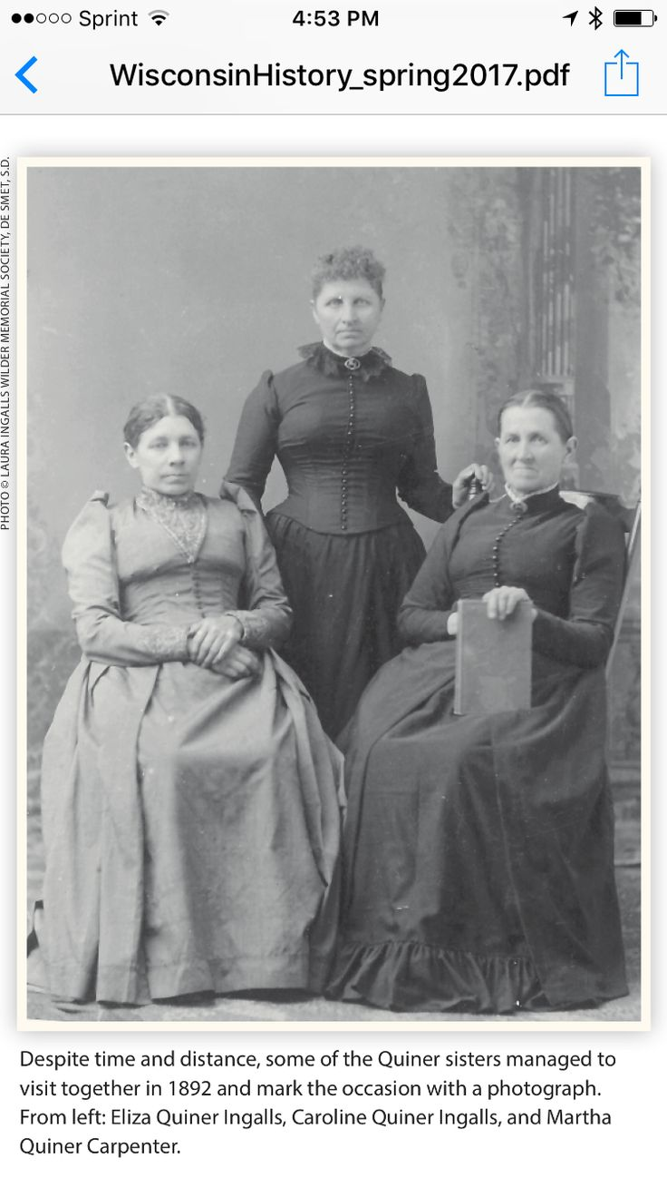 Caroline Lake Quiner Ingalls, Eliza Ann Quiner Ingalls, And Martha Jane  Quiner Carpenter Laura Ingalls Wilderlakes