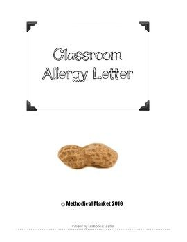 This is a letter for teachers to send home notifying parents of an existing allergy in the classroom and list precautions for classroom snacks. I have included two versions, with a border and without a border. There is a blank line for teachers to list any and every allergy for