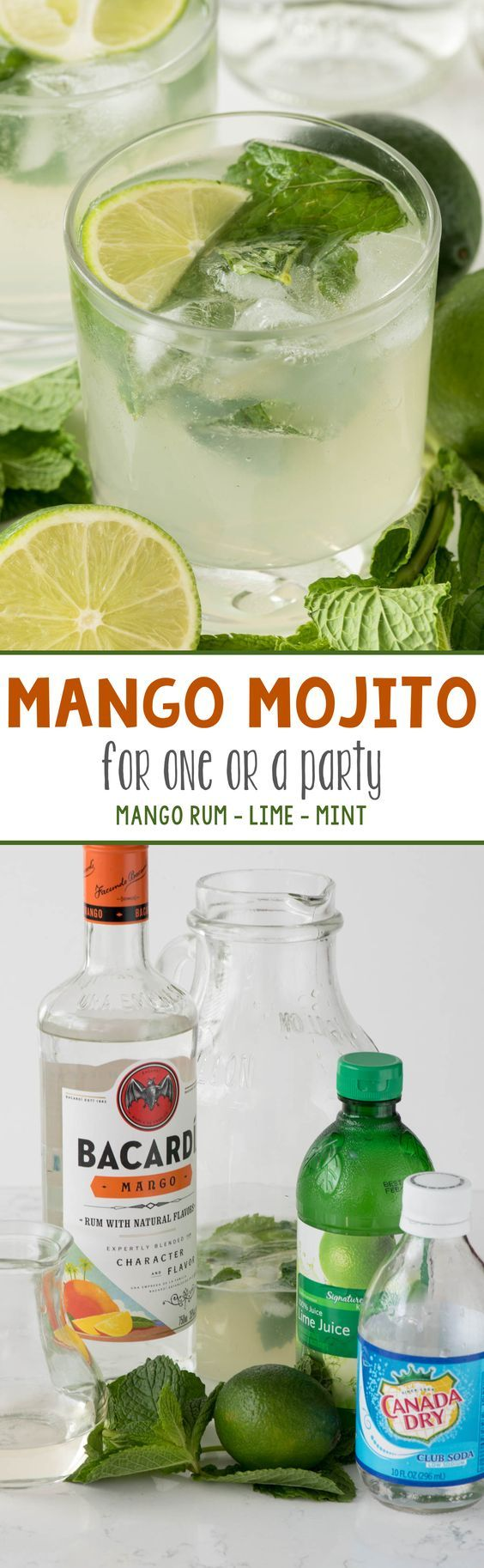 Mango Mojito - this easy cocktail recipe is like drinking a mojito at the beach! Infused with mango flavor, it's a simple drink for one or it makes a pitcher!