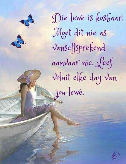Leef voluit...moenie die lewe as vanselfsprekend ervaar nie...#Afrikaans #LifeQuotes
