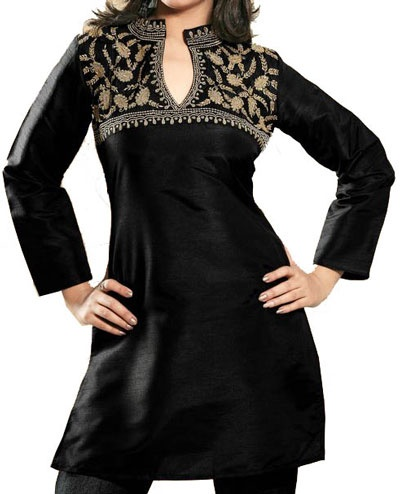Indian designer tunic tops (Kurti) in cotton silk with sequins & embroidery work from India....