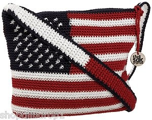 The Sak American Flag Crochet Handbag Purse Red White Blue Cute