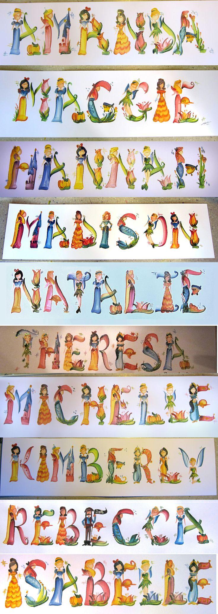 A compilation of Princess Name Paintings I've done. Order them at legendbrush.etsy.com