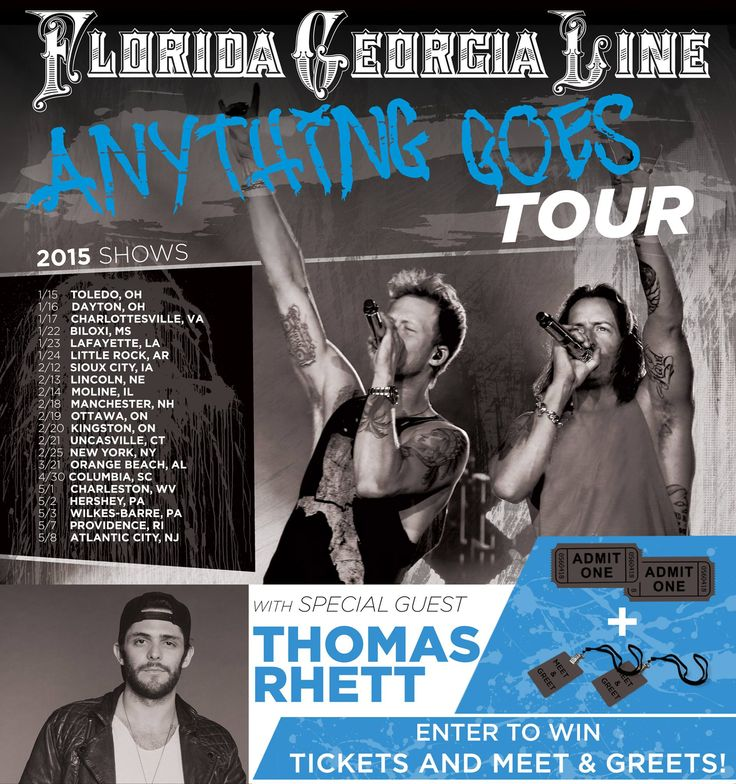 Enter to win tickets to see Florida-Georgia Line AND Thomas Rhett on their upcoming #AnythingGoesTour! We will even bring you back stage to meet them! To enter click here: http://form.jotformpro.com/form/43436366839971