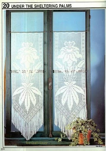 """Under the shell"" crochet curtain, filet work ♥LCC-MRS♥ with diagram"