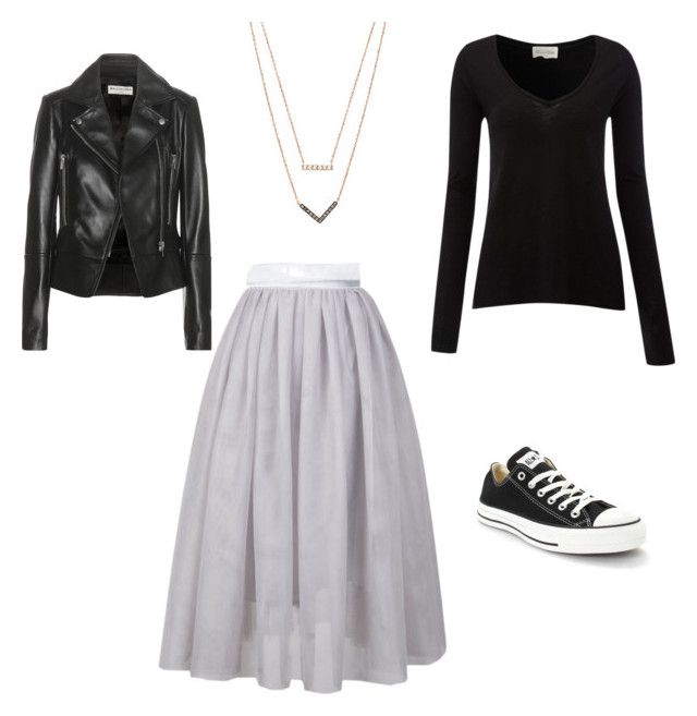Tulle skirt grey by mommainflipflops on Polyvore featuring American Vintage, Balenciaga, Converse, Michael Kors, women's clothing, women's fashion, women, female, woman and misses