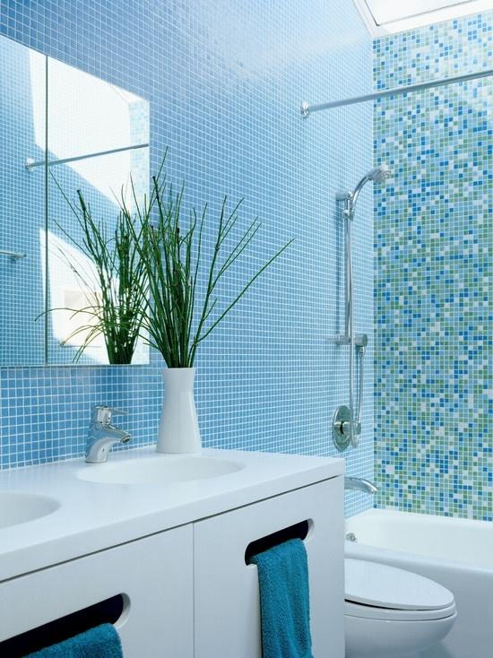 Baños Azulejos Azules:Blue Tile Bathroom