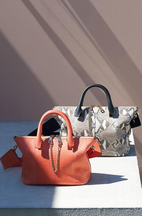 Baylee bag in python \u0026amp; smooth calfskin. CORAL POP Baylee bag in ...