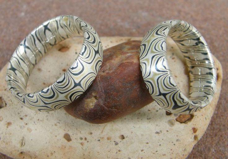 Eheringe - Trauringe Mokume Gane Gold 900 Palladium Silber - ein Designerstück von leguan4u bei DaWanda