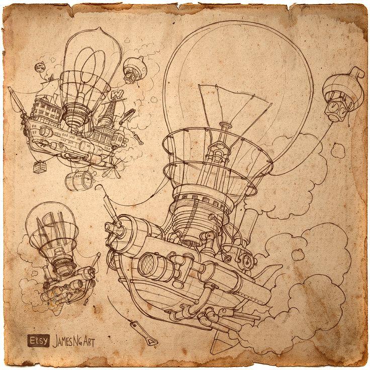 Pencil illustration of Steampunk Lightbuild-Airship by @jamesngart #Steampunk #Airship