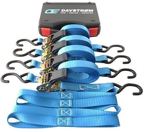 """DAVSTROM Ratchet Tie Downs, New Strap Kit, Heavy Duty Cargo Straps, 4x1""""x15' + 4 Soft Loops + Carry Case [Max 2200lbs Break Strength] Super Safe for Motorbike, Kayak, Camping, Moving. Great Gift #DAVSTROM #Ratchet #Downs, #Strap #Kit, #Heavy #Duty #Cargo #Straps, #x""""x' #Soft #Loops #Carry #Case #[Max #Break #Strength] #Super #Safe #Motorbike, #Kayak, #Camping, #Moving. #Great #Gift #safecamp #safecamping"""