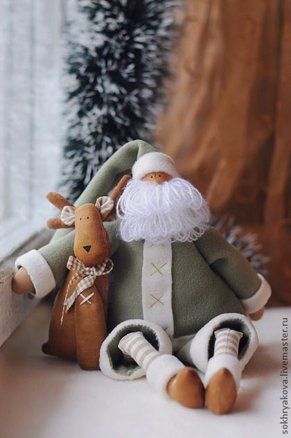 Куклы Тильды ручной работы. Ярмарка Мастеров - ручная работа Санта с оленем.. Handmade.