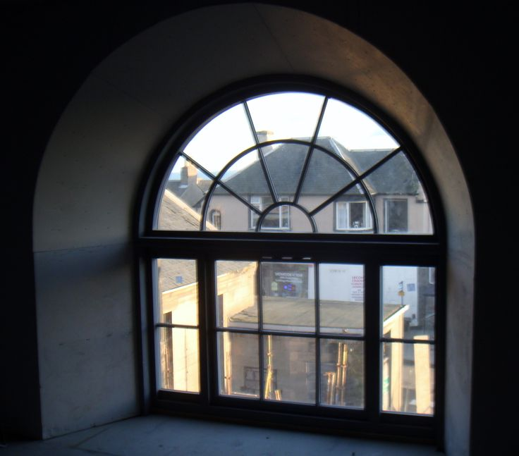 Curved headed sash window, RAL colour, architecture, development, sash and case windows