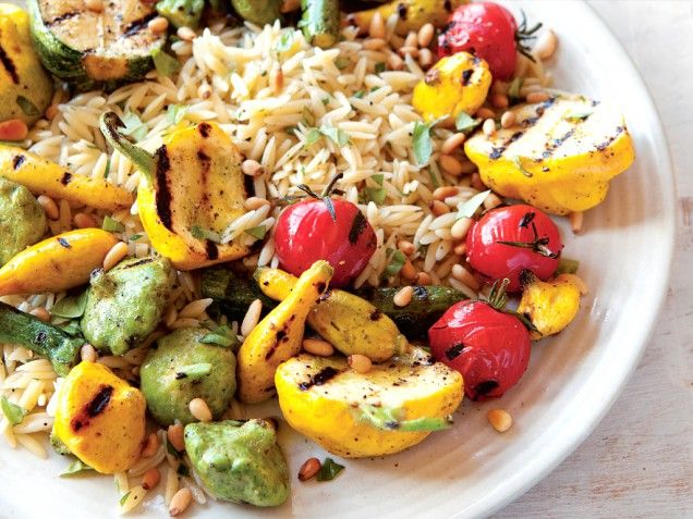 Grilled Squash & Orzo Salad With Pine Nuts & Mint Recipe ...