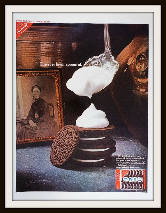 The ever lovin' spoonful. Oreo Creme Sandwich from Nabisco. Original full page vintage 1968 Oreo Creme Sandwich Advertisement. Vintage Oreo ad. Vintage Nabisco ad. Vintage food ad. Vintage cookie ad.