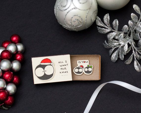 Cute Love Christmas Card/ Romantic Adult Holiday Greeting Card/ Christmas Matchbox/ Small Gift box/ All I want for Xmas is You