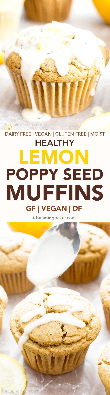 Healthy Lemon Poppy Seed Muffins Recipe (V, GF): wonderfully moist and fluffy muffins bursting with poppy seeds and lemon flavor. The perfect balance of sweet and tart! #Vegan #GlutenFree #DairyFree #Breakfast #Snacks | Recipe on BeamingBaker.com