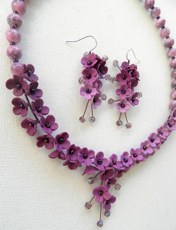 Wedding Jewelry Flower Jewelry Violet Jewelry Set от insoujewelry