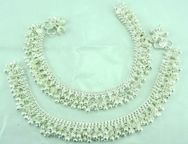 heavy belled silver payal anklet