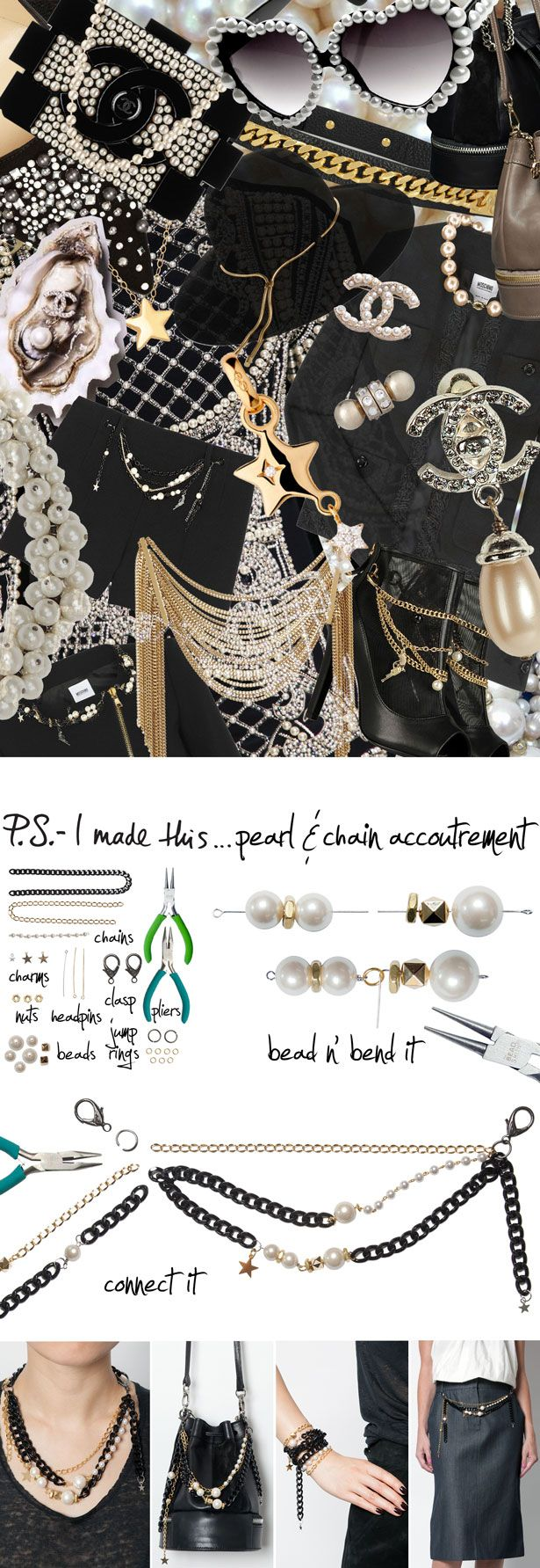 P.S.- I made this...Pearl & Chain Accoutrement #PSIMADETHIS #DIY #INSPIRATION #COLLAGE