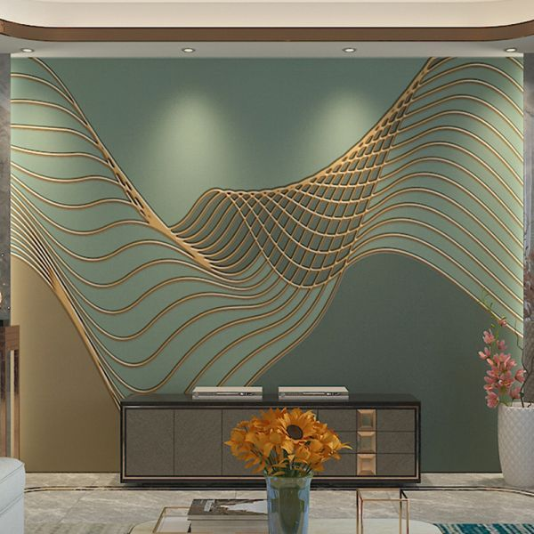 Modern Green Mural Wallpaper With 3d, Large Living Room Wall Murals