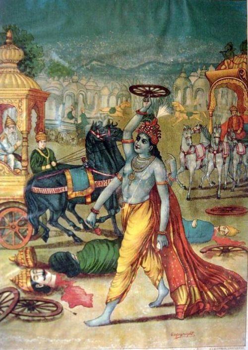 Krishna with a weapon Chakram