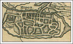 Johannes Mejers bykort over Ribe - Denmark