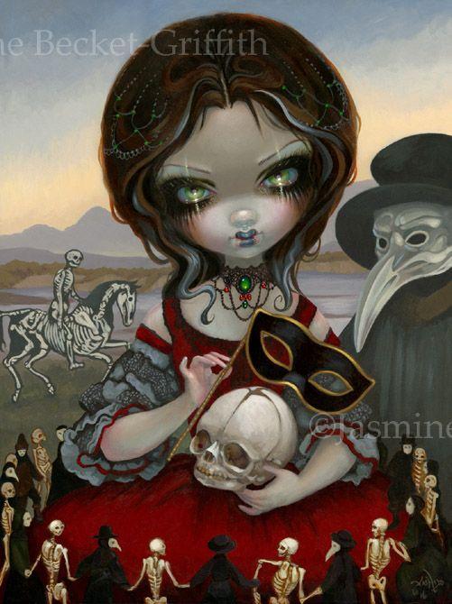 Carnevale di Morte Jasmine Becket-Griffith Tarot Death Card from 78 Tarot Carnival big eye art new contemporary art pop surrealism big eyes Venetian mask