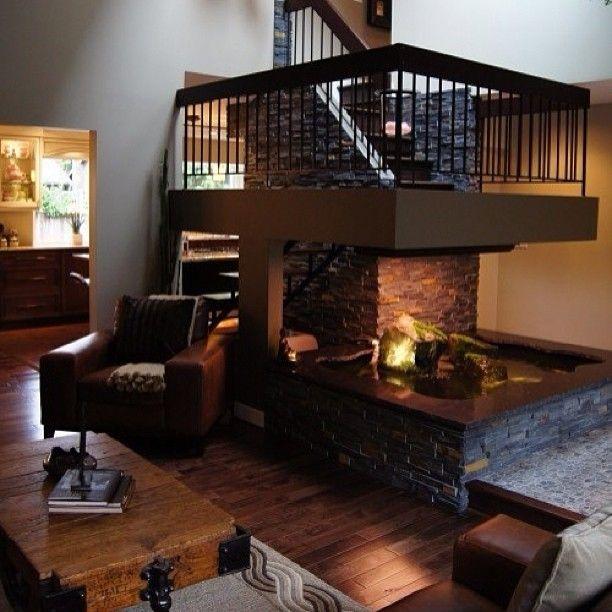 Очень шоколадный 🍫#интерьер #дизайн #декор #стиль #шоколадный #дом #гостиная #кресло #темный #камин