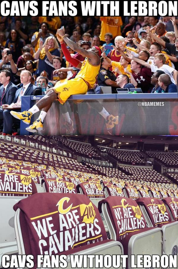 Cavs fans watching their team without LeBron James. #bandwagoners - http://nbafunnymeme.com/nba-funny-memes/cavs-fans-watching-their-team-without-lebron-james-bandwagoners-2