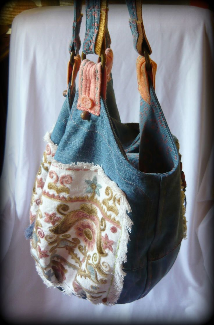 Handmade by Judy Majoros - Hódmezővásárhelyi Embroidery - Hungarian  Recycled bag. Denim hobo bag. beaded-fringe hobo bag.