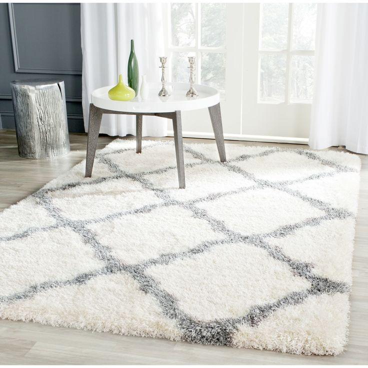 Safavieh Montreal Shag Ivory/ Grey / Polyester Rug (8u0027 X 10u0027)