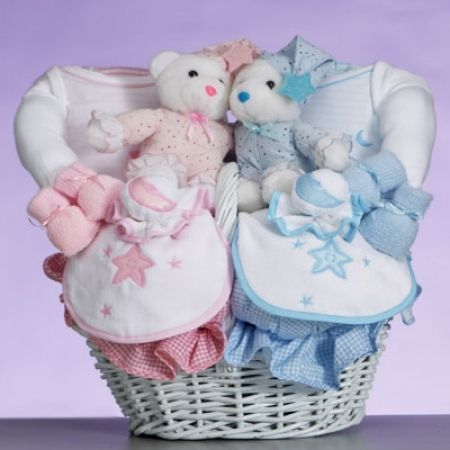 Get gift for twins celestial baby gift basket find delightful baby gift from our twin and triplet baby gifts collection your online baby store