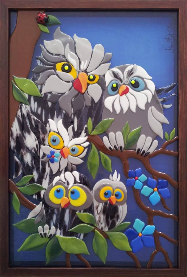 Owl Family in fused glass