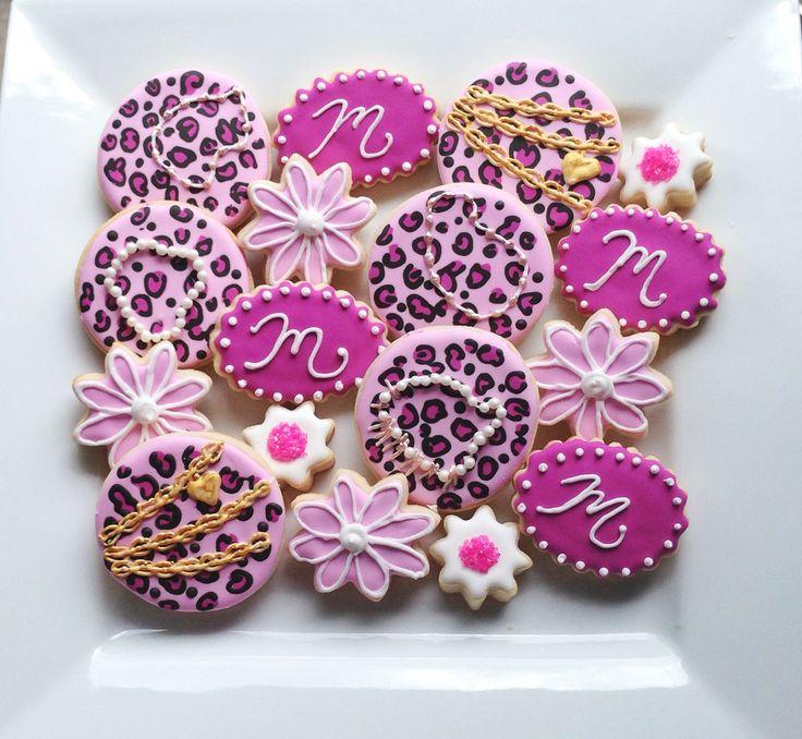 Custom Pink Leopard Birthday Cookies  @sugarlovecookiesdesigns FB sugar love cookie designs