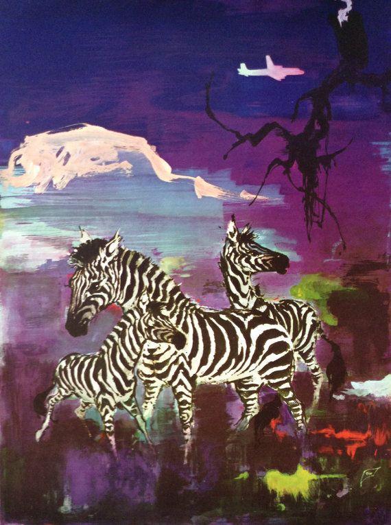 1955 SAS Airlines Poster AFRICA Zebras  by OutofCopenhagen on Etsy