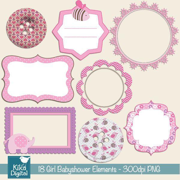INSTANT DOWNLOAD Girl Babyshower Elements Digital Clipart - Scrapbooking , card design, invitations, pink, frames, bordes. $4,00, via Etsy.