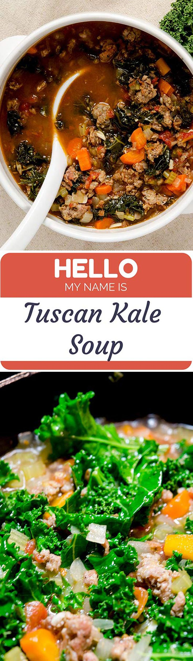This is one of my favorite soup recipes. A tuscan kale soup with spicy Italian sausage and super fresh ingredients just rocks my world. This soup has rustic flavors and is packed full of tummy filling ingredients. You should print out this tuscan kale recipe and try it tonight!