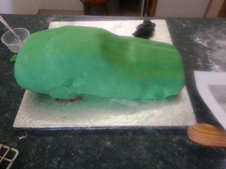 Green plastic icing on