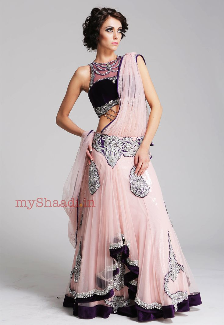 blush pink lehenga, halter style blouse, great wedding reception lehenga