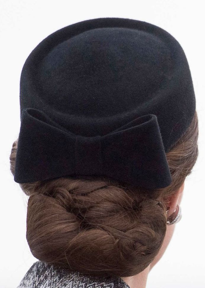 Lock & Co black pillbox hat with bow (bespoke). Click for more details