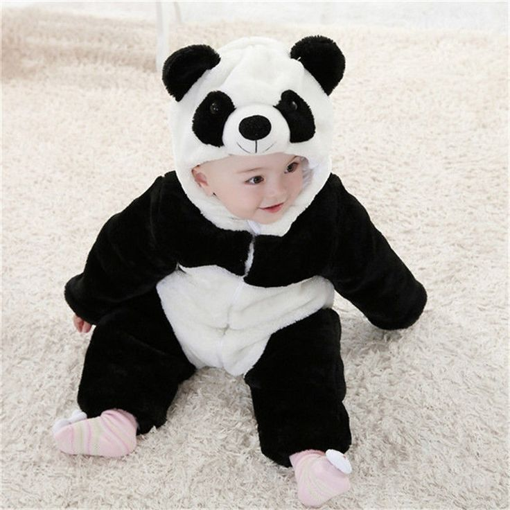 2016 New Baby Animal Costume Onesie Cute Climbing Pajamas Romper Jumpsuit Coverall Lovely Panda Rompers for Kids