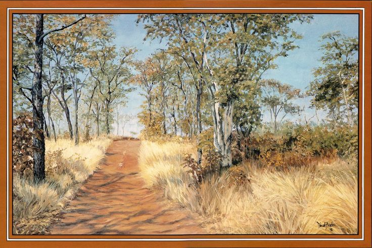 Dirt Road through Mopane Forest, Charara, Kariba, Zimbabwe. Oil on canvas - painting by Dinah Beaton