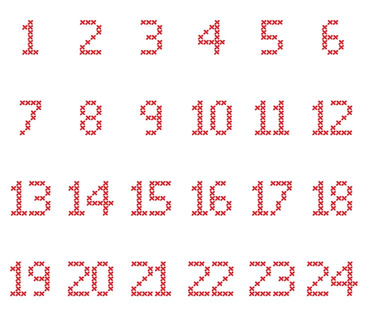 Cross-Stitch-Adventskalender-Zahlen in verschiedene Dateiformate umgewandelt als Plotter-Freebie                                                                                                                                                                                 More
