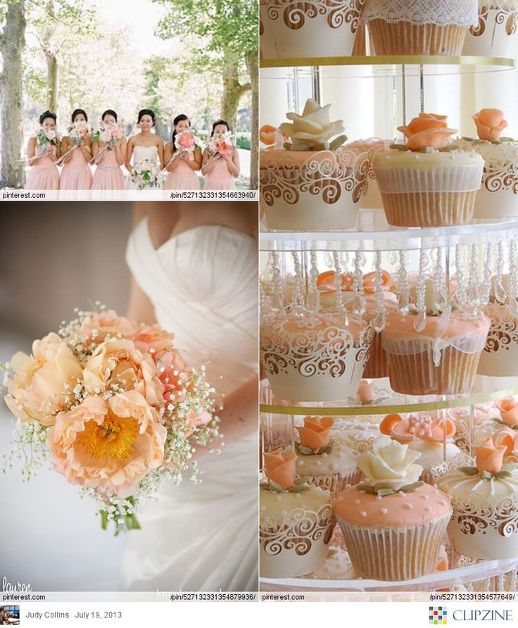 Peach inspired wedding.  My whole wedding theme as changed from a blue/purple peacock theme to a Shabby chic coral/peach/blush/rose/seafoam theme! :)
